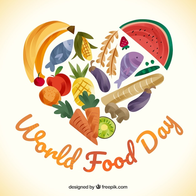World food day background with fruit and vegetables Free Vector