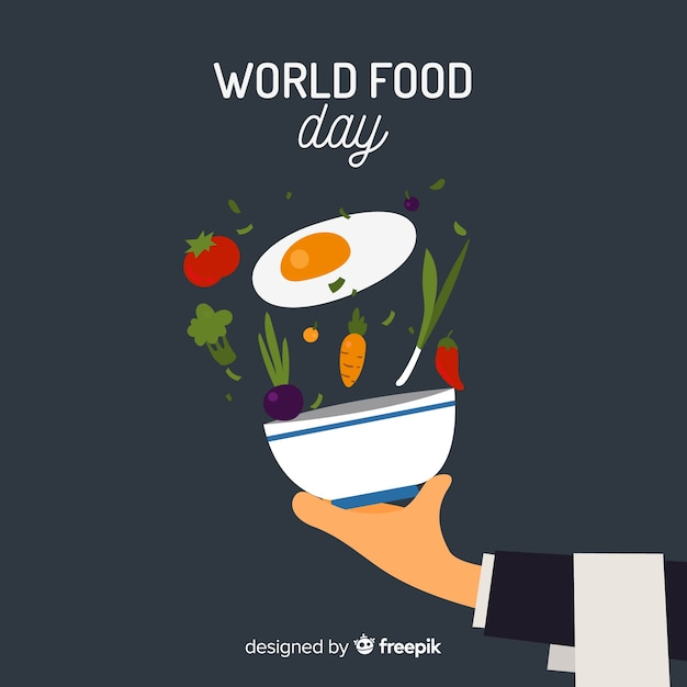 World food day background with vegetables and bowl Free Vector