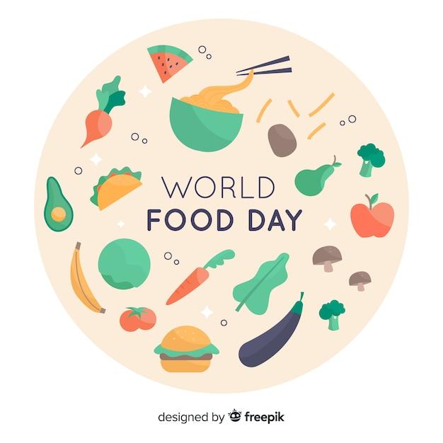 フラットなデザインの世界食糧日コンセプト 無料ベクター