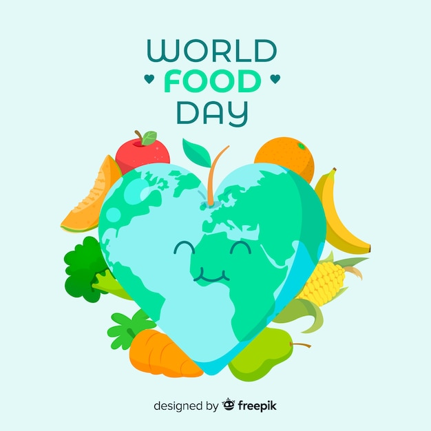 World food day concept with flat design background Free Vector