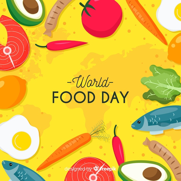 フラットなデザインの背景を持つ世界食糧日コンセプト 無料ベクター