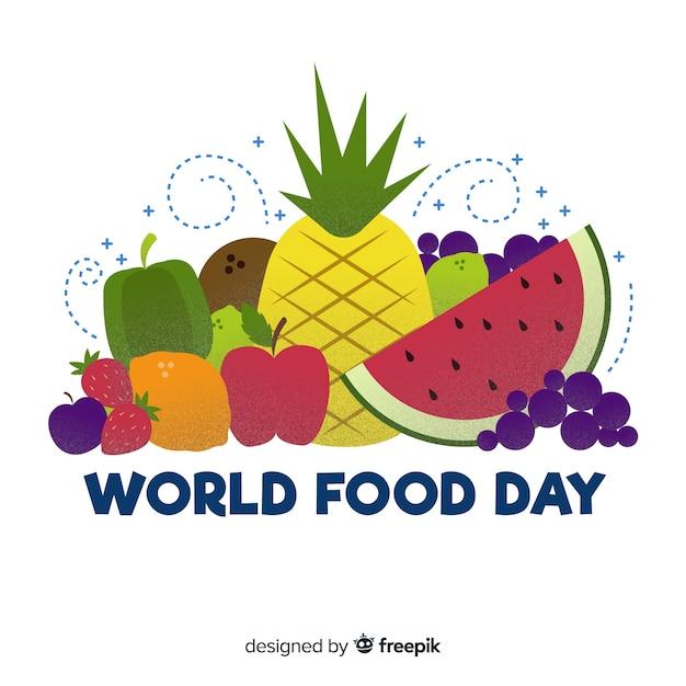Concetto di giornata mondiale dell'alimento con sfondo disegnato a mano Vettore gratuito