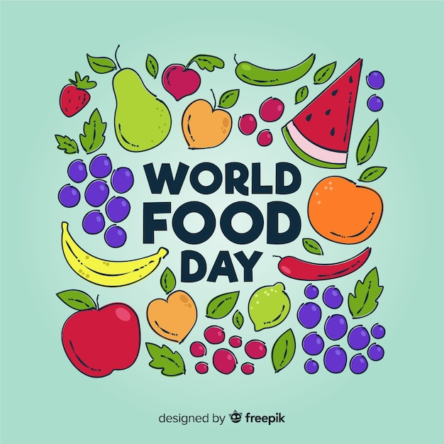 World food day concept with hand drawn background Free Vector