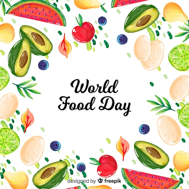 World food day concept with watercolor background Free Vector