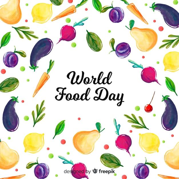 水彩画背景を持つ世界の食糧日コンセプト 無料ベクター