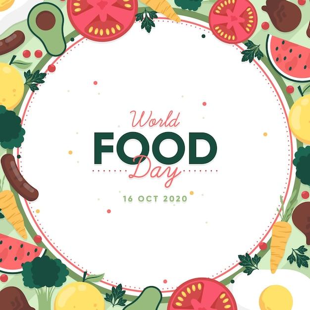 Всемирный день еды плоский дизайн фона Бесплатные векторы