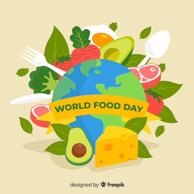 世界の食の日フラットデザイン 無料ベクター