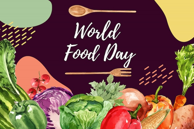 World food day frame with bell pepper, cabbage, onion watercolor illustration. Free Vector
