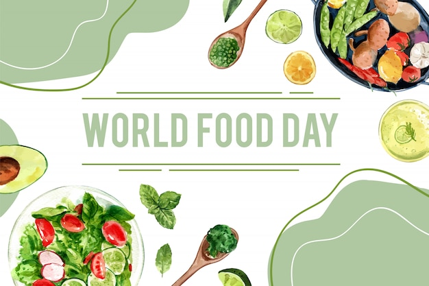 World food day frame with peas, avocado, basil, cucumber watercolor illustration. Free Vector