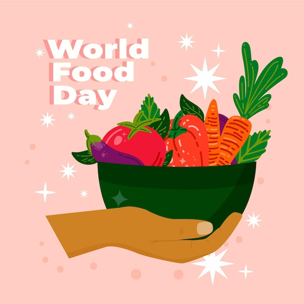 World food day hand drawn background with veggie bowl Free Vector