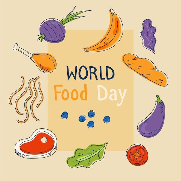 Всемирный день еды рисованной фон Бесплатные векторы