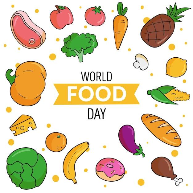 Fondo disegnato a mano di giornata mondiale dell'alimentazione Vettore gratuito