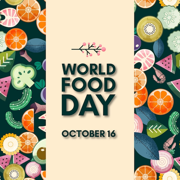 World food day lettering. october 16 Premium Vector