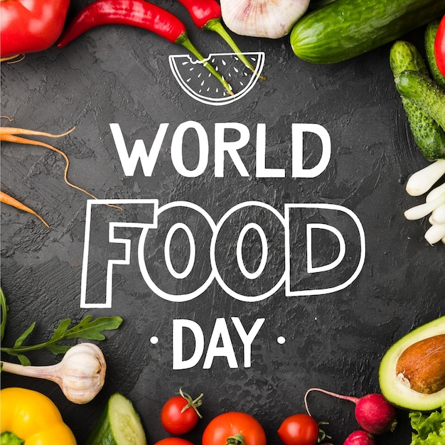World food day lettering style Free Vector