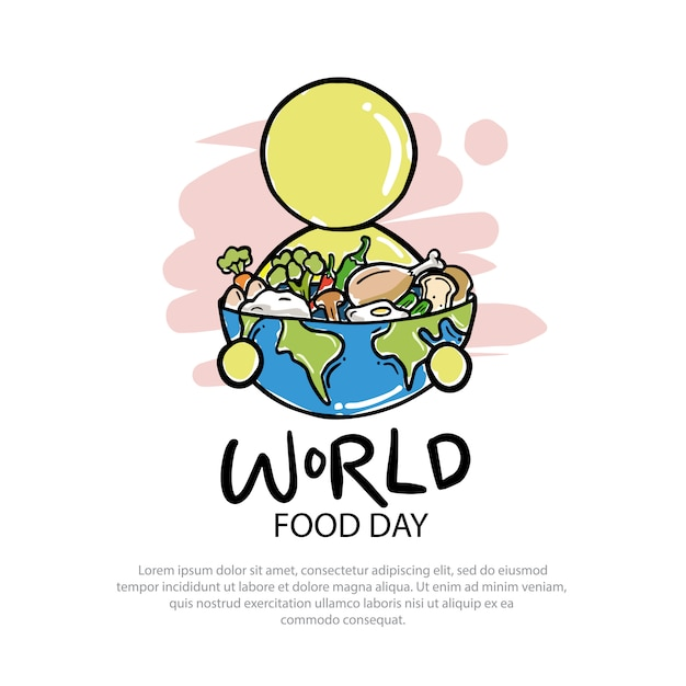 World food day logo illustration Premium Vector