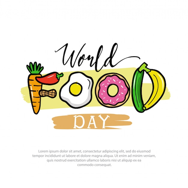World food day logo illustration Premium Vector