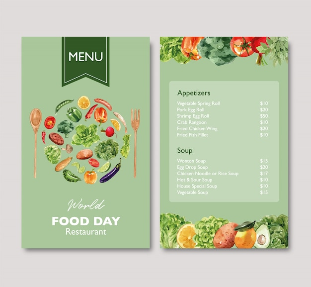 World food day menu with broccoli, beetroot, eggplant watercolor illustration. Free Vector