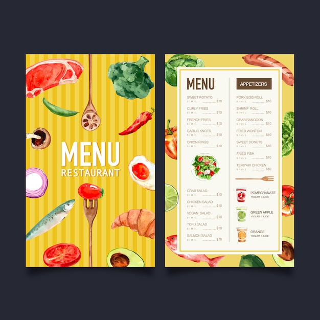 World food day menu with broccoli, fish, meat watercolor illustration. Free Vector