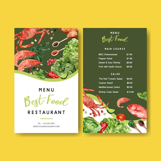 World food day menu with crab, shrimp with vegetable watercolor illustrations. Free Vector