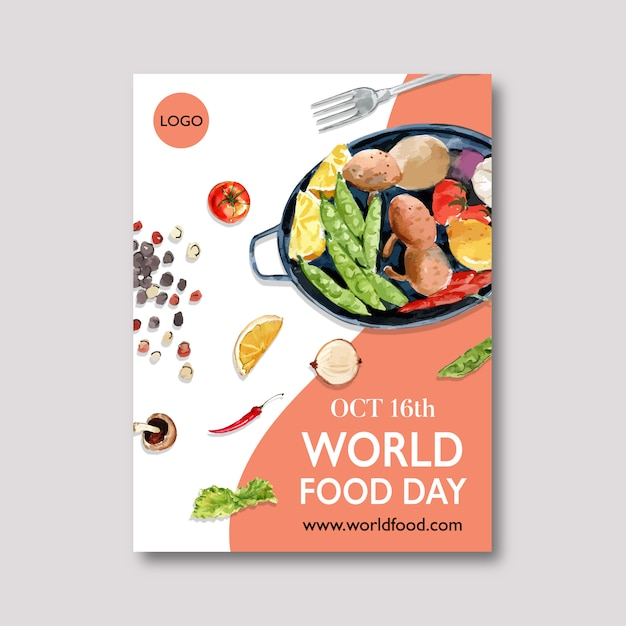 World food day poster with peas, lemon, potato watercolor illustration. Free Vector