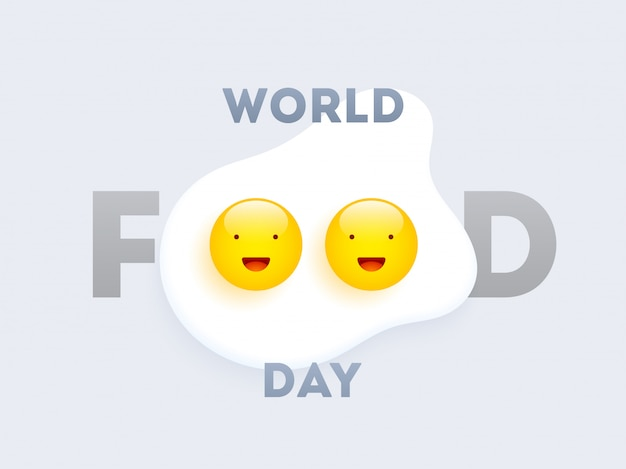 World food day text with happy eggs Premium Vector