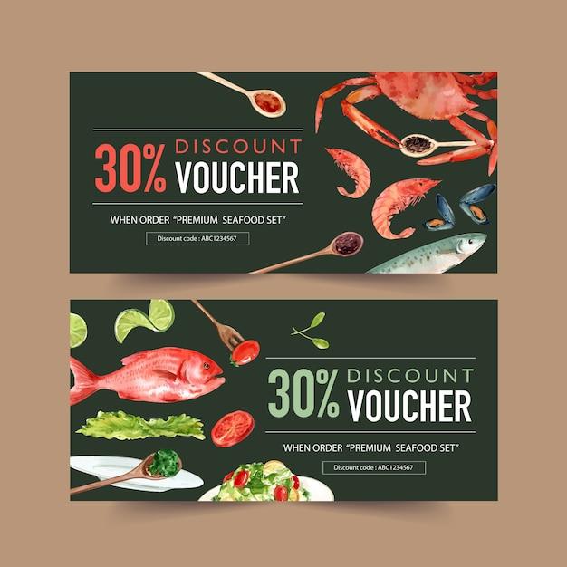 カニ、ムール貝、魚、ライム、サラダの水彩イラストの世界食糧日バウチャー。 無料ベクター