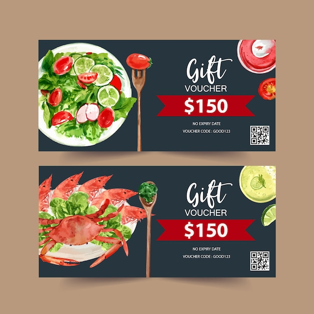 World food day voucher with crab, shrimp, prawn, broccoli watercolor illustration. Free Vector