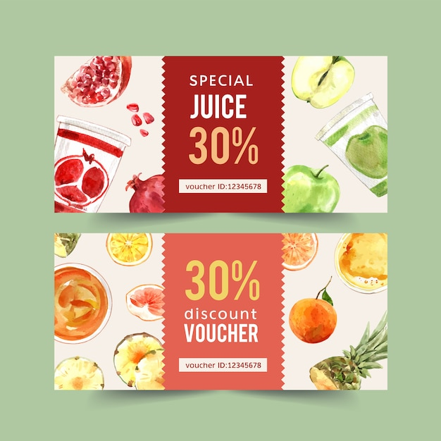 World food day voucher with pomegranate, apple, orange watercolor illustration. Free Vector