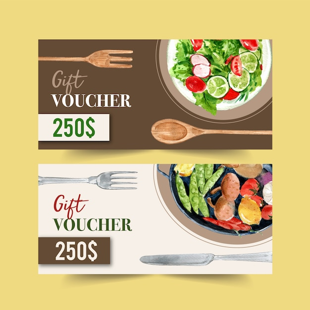 World food day voucher with salad and vegetable watercolor isolated illustration. Free Vector