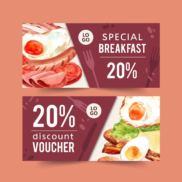 World food day voucher with sausage, fried egg, ham, bacon watercolor illustration. Free Vector