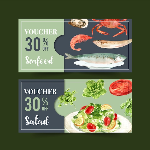 World food day voucher with shrimp, fish, crab, butterhead, tomato watercolor illustration. Free Vector