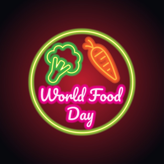 World food day with neon sign effect Premium Vector