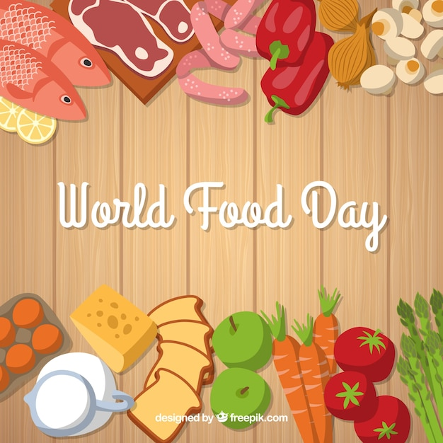 World food day on wooden background Free Vector
