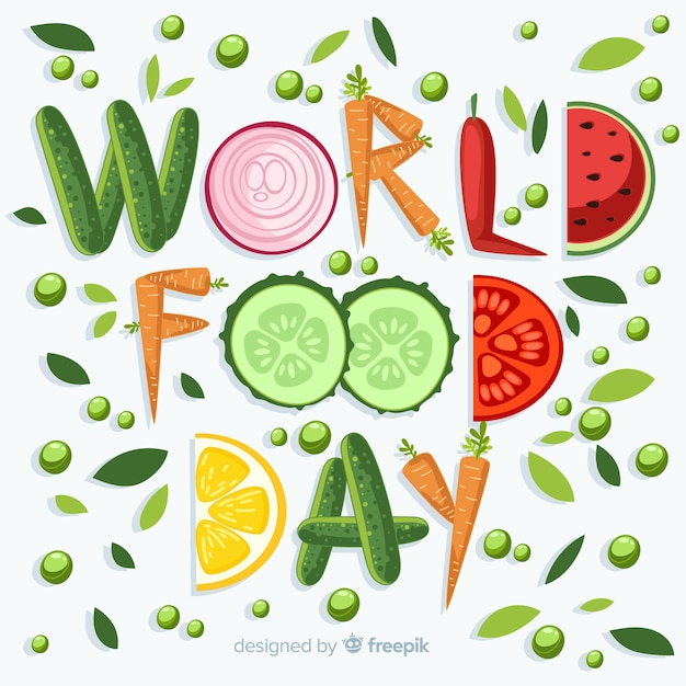 World food day written with veggies Free Vector