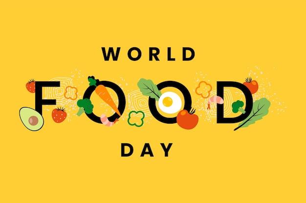 Giornata mondiale dell'alimentazione su sfondo giallo Vettore gratuito