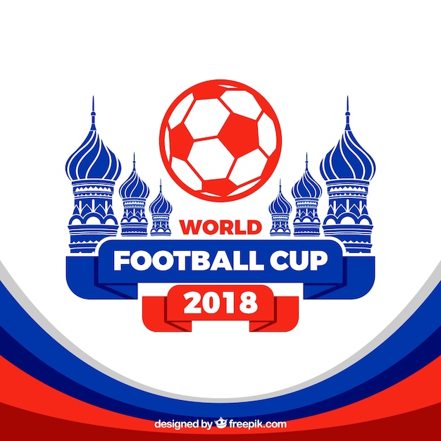 World football cup background with architecture\ in flat style