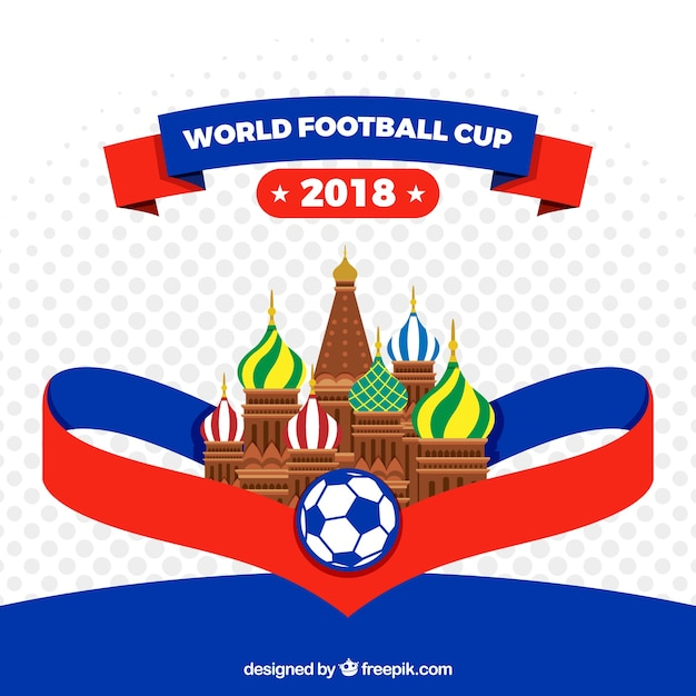 World football cup background with architecture Free Vector