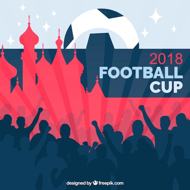 World football cup background with audience Free Vector