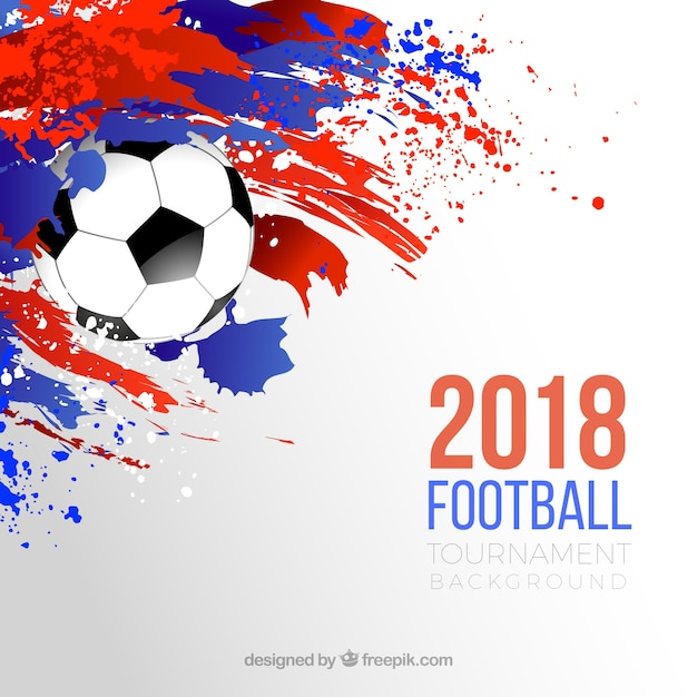 World football cup background with ball and colorful stains Free Vector