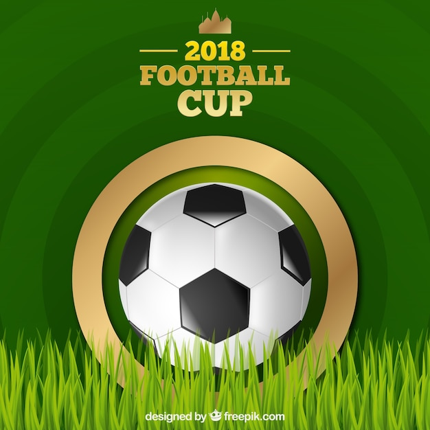 World football cup background with ball in\ realistic style