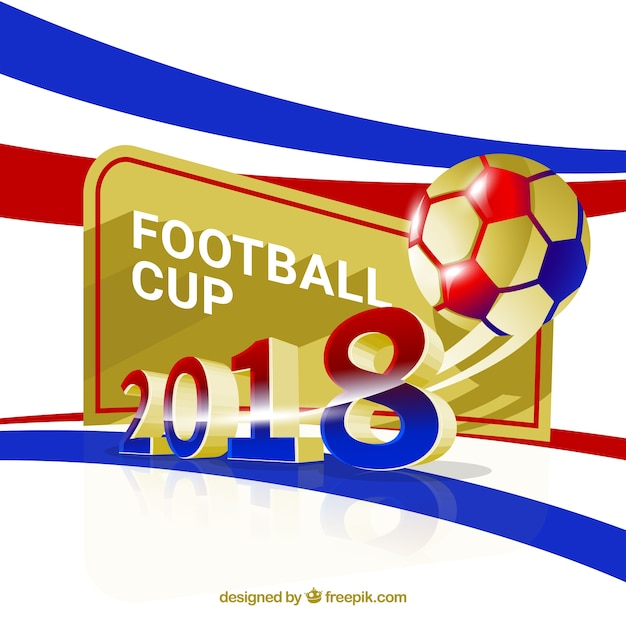 World football cup background with golden ball\ in realistic style