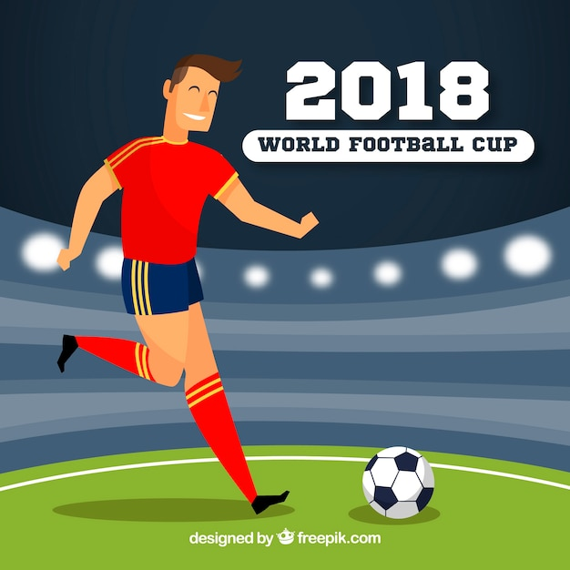 World football cup background with player in\ flat style
