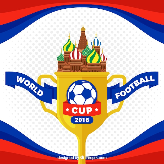World football cup background with trophy in flat style Free Vector