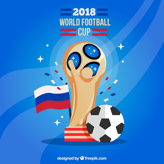 World football cup background with trophy Free Vector