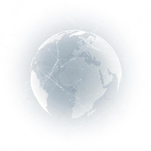 World globe on gray background Premium Vector
