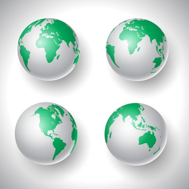 Коллекция глобусов мира Бесплатные векторы