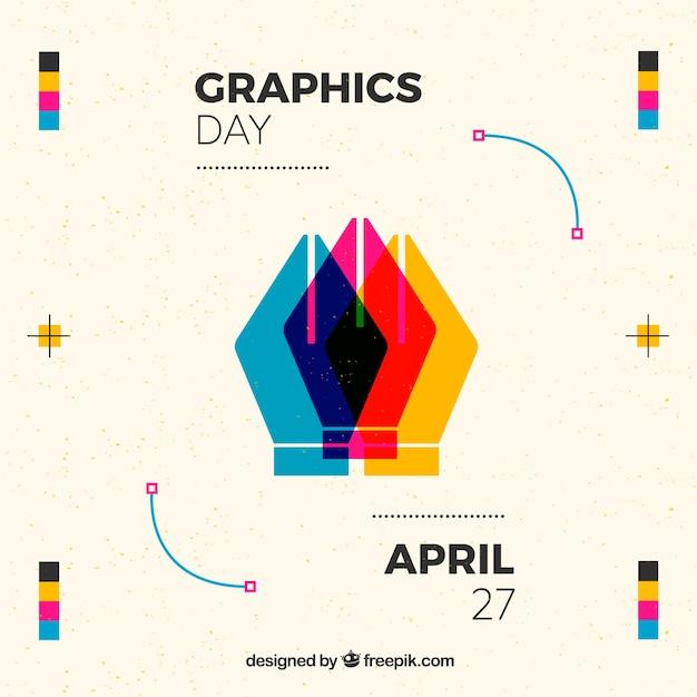 Всемирный день графического дня в плоском стиле Premium векторы