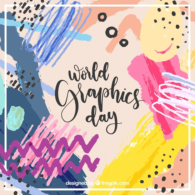 World graphics day background with abstract shapes in watercolor style Free Vector