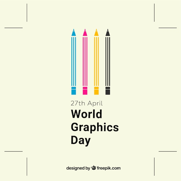 World graphics day background with color pencils Free Vector