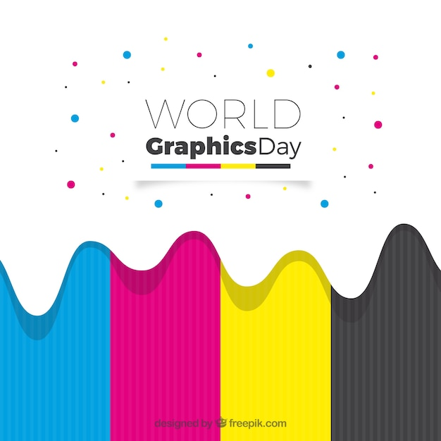 World graphics day background with colors Free Vector